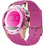 Starrybay 1.22 Inch Round Screen Smart Watch with Magnetic/ Wireless Charging IPS Round Touch Screen Gesture Control Wrist Watch for Android (Pink-Golden)