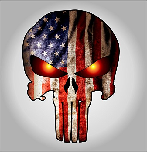 Punisher with American Flag and Glowing Eyes sticker / decal **Free Shipping** (Punisher Truck Window Decal compare prices)