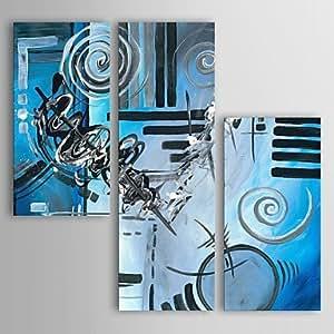 Pittura ad olio ShangdefengTM moderna astratta blu magica Set di 3 tele dipinte mano tela in ...