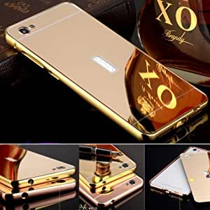 Droit Luxury Metal Bumper + Acrylic Mirror Back Cover Case for ViVo X5 Pro By Droit Store + Flexible Portable Thumb OK Stand by Droit Store.