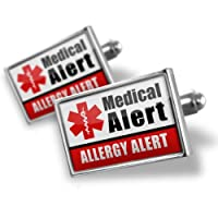 "Neonblond Cufflinks Medical Alert Red ""Allergy Alert"" - cuff links for man from NEONBLOND Jewelry & Accessories"