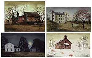 Canvas Prints - Billy Jacobs Four Seasons Canvas Collection - 4 Pc Set Primitive Country Rustic Art