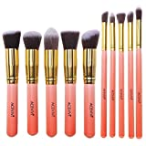 ACEVIVI Professional 10pcs Premium Synthetic Kabuki Makeup Brush Set Foundation Blending Cosmetic Brushes Essential...