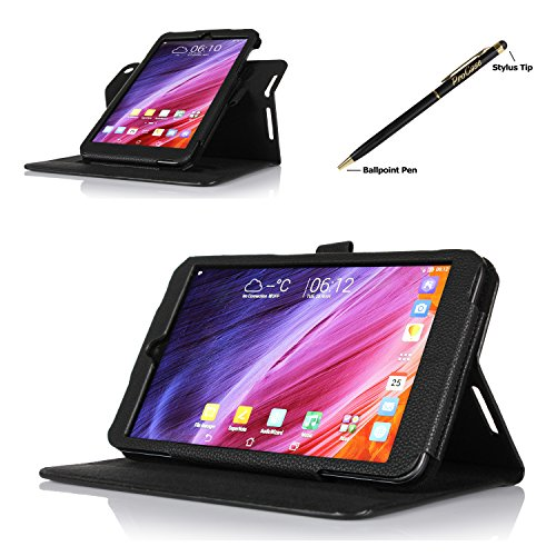 Procase 2014 Asus Memo Pad 8 (Me181C) Dual View Case (Horizontal And Vertical Display) - Rotating Cover Case With Stand Exclusive For 2014 Version Asus Memo Pad 8 (Me181C) Tablet, With Bonus Procase Stylus Pen (Black)