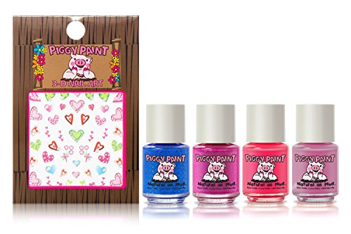 Piggy Paint Tiny Tiaras [5 Pack] Gift Set Including Nail Art Stickers (Kid Nail Polish compare prices)