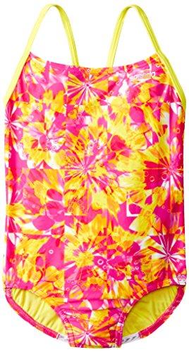 Speedo Big Girls' Tie Dye Blaze Keyhole 1 Piece, Pink, 10 image