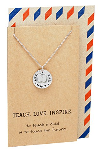 Teach. Love. Inspire. Teacher Appreciation Gift Necklace & Pendant in Gift Envelope, Silver Tone, 16'-18