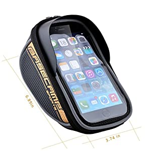 Allnice® U Type Design 5.5'' Waterproof Toucscreen Dual Zipper 2.5L Capacity Mountain Bike Road Bicycle Cycling Front Frame Bag Tube Pannier Saddle Bag Fit for iPhone 6 Plus / iPhone 6 / Galaxy Note2 / Galaxy S5 and etc (Gold) from Allnice