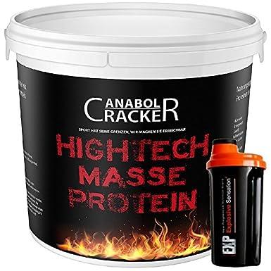 Hightech Masse Protein Shake, Whey Eiweißpulver, 900g Eimer, Vanille, Erdbeer oder Schoko - Karamell Geschmack + Proteinshaker