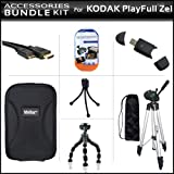 """Accessories Bundle Kit For Kodak PlayFull Ze1 HD Video Camera (New Model) Includes Micro HDMI Cable + 50"""" Tripod + USB 2.0 High Speed Card Reader + Hard Case + LCD Screen Protectors + Gripster Flexible Tripod + MicroFiber Cleaning Cloth + Mini Tripod"""