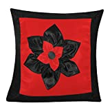 BIG LILY FLOWER PATCH CUSHION COVER RED & BLACK 1 PC (40 X 40 CMS)