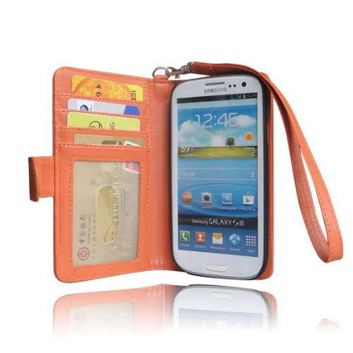 Navor Samsung Galaxy S3 Life Protective Deluxe Book Style Folio Wallet Leather Case with Hard Shell & Removable Strap