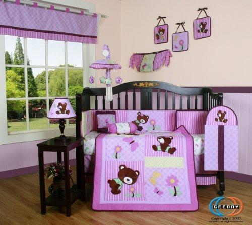 Boutique Girl Teddy Bear 13Pcs Crib Bedding Set front-3408