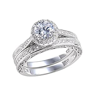 she Jewellery Alice 2.4 Carat Round White CZ 925 Solid Sterling Silver Wedding Band Engagement Ring Set Size 6 from Newshe Jewellery