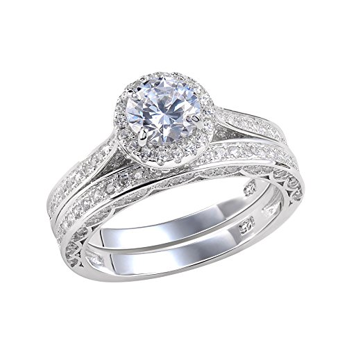 Newshe Jewellery Alice 2.4 Carat Round White CZ 925 Solid Sterling Silver Wedding Band Engagement Ring Set Size 8