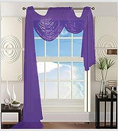 Elegant Comfort Beautiful Window Sheer Voile Scarf 55\