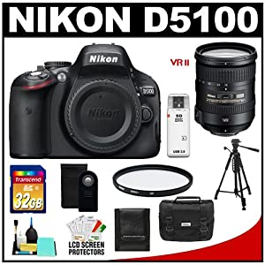 Nikon D5100 16.2 MP Digital SLR Camera Body with 18-200mm VRII Lens + 32GB Card + Case + Filter + Remote + Tripod + Cleaning Kit
