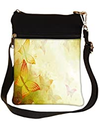 Snoogg Colorful Butterflies Cross Body Tote Bag / Shoulder Sling Carry Bag