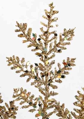 Package of 6 Holiday Glittery Gold Fern Floral Stems 19 Tall