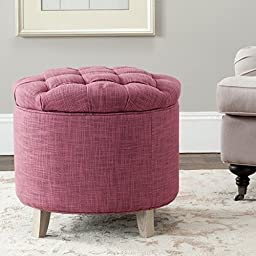 Crafted From Viscose-Blend Fabric and Wood for beauty and durability Amelia Tufted Rose Storage Ottoman