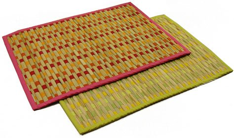 Sabai Grass Placemat Set of 4 - Pink Border