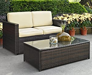 Crosley Palm Harbor 2 Piece Outdoor Wicker Seating Set Loveseat & Glass Top Table from Crosley