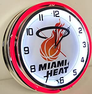 MIAMI HEAT BASKETBALL 18 DOUBLE NEON LIGHTED WALL CLOCK FINALS TEAM LOGO SIGN by Miami Heat