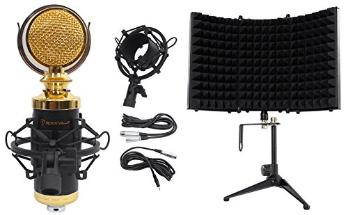 Package: Rockville RCM02 Pro Studio Recording Condenser Microphone With High Quality Metal Construction and Shock Mount + Rockville RMF1 Studio Microphone Isolation Shield with Sound Dampening Foam (Studio Mics Package compare prices)