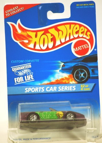 1995 - Mattel / Hot Wheels - Custom Corvette - Sports Car Series / Football Corvette - #2 of 4 Cars - 1:64 Scale Die Cast Metal - #405 - Purple - MOC - Limited Edition - Collectible