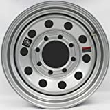 "Southwest Wheel 16"" x 6"" Silver Modular Trailer Wheel (8-6.5 Bolt Circle) with Center Cap and Valve Stem"
