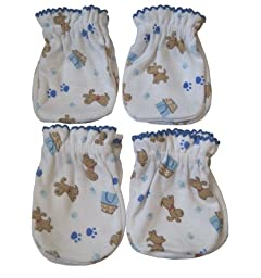 4 Pairs Cotton Newborn Baby/infant Boy No Scratch Mittens Gloves - Cute Little Dog