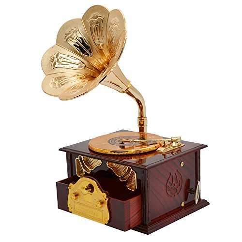 Fding Classical Trumpet Horn Turntable Gramophone Art Disc Music Box & Make up Case &Jewelry Box Home Decor (Brown) 0