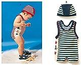 子供水着 男の子 ストライプ水着 子供水着 ボーダーUVラッシュガードパンツセット ブルー 110cm