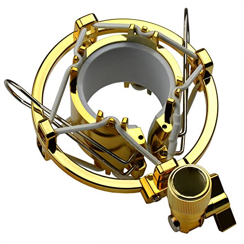 Very100 Sm-4S Golden Microphone Shock Mount Clip Clamp For Large Diameter Condenser Mic