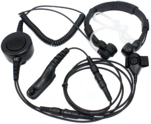 Secuda Military Grade Tactical Throat Mic Headset/Earpiece With Big Finger Ptt For Motorola Radios Apx4000 Apx6000 Apx6500 Apx7000 Dp3400 Xpr6550 Xpr6500 Multi-Pin
