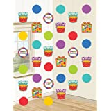 Amscan International Dots and Stripes Happy Birthday Hanging String Decorations, Pack of 6