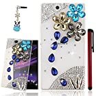 Ancerson 3D Handmade Luxury Shining Glitter Crystal Diamond Rhinestones Hard Back Case Cover for Sony Xperia Z Ultra XL39h C6802 C6806 C6833 Free with a Red Stylus Touchscreen Pen, a 3.5mm Universal Crystal Diamond Rhinestones Bling Lovely Silvery Flower Blue Panda Pendant Dust Plug and a Cleaning Cloth (Transparent Clear Case) (Bling Blue Golden Gray Crystal Diamond Flower Blossom Navy Blue Rain Drop)
