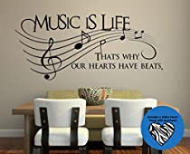 Music Is Life.. That's Why Our Hearts Have Beats Vinyl Wall Decal Sticker Art 23