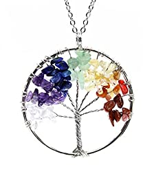 Amulet Tree of Life Pendant Necklace. Wire Wrapped Crystal Chips Seven Chakra Reiki Healing Stone Jewelry Gift for Family Friend by BOUTIQUELOVIN