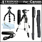 Clearance Sale on Tripod Accessory Bundle Kit For Canon EOS Rebel T4i, (650D) T3i, T2i T3 Digital SLR Camera Includes 57 Inch Pro Tripod + 67 Inch Monopod + 10&#8243; Flexible Gripster + Remote Shutter Release + MicroFiber Cleaning Cloth