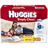 Huggies Simply Clean Baby Wipes, Refill, 648 Count