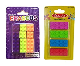 Building Blocks Erasers with Bonus Magnets Kit (13 Pieces)