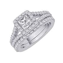 buy Diamond Engagement Ring With Matching Euro Band With Princess Cut Center In 14K White Gold (2 Cttw)