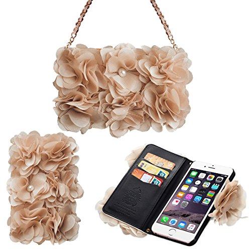 [Card Slot] magnetico Hybrid Portafoglio donna borsetta con tracolla catena Borsetta Custodia Cover per, Similpelle, beige, iPhone 6/6S Plus