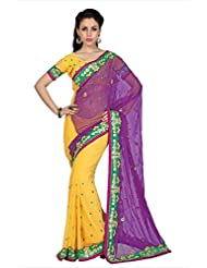 Designersareez Women Violet & Yellow Chiffon Saree With Unstitched Blouse (1706)