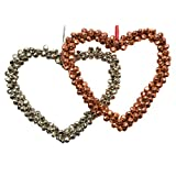 Tangerine Copper & Silver Bell Heart Ornament Set Of 2 Pcs