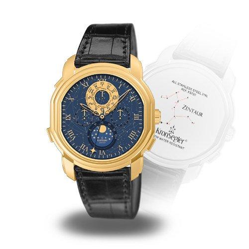 Kronsegler Zentaur Calendar Watch golden – nightblue