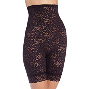 Bali Women's Lace And Smooth Hi Waist Thigh Slimmer, Black, Medium