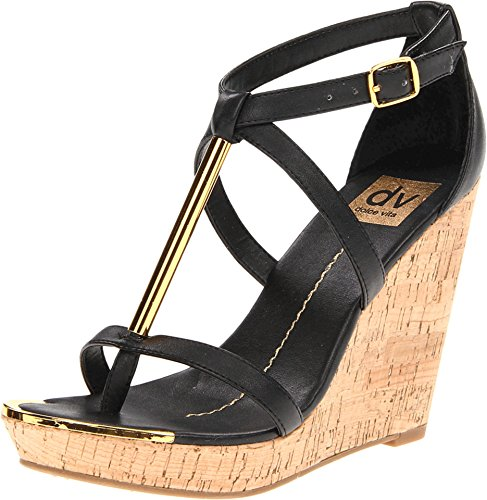 Dv By Dolce Vita Women'S Tremor Wedge Sandal,Black Stella,8.5 M Us