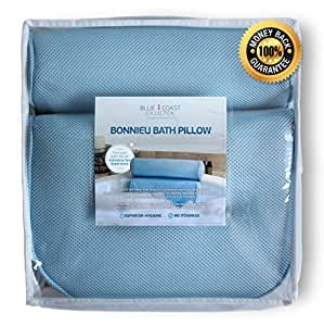 The Bonnieu Luxury Bath Pillow by Blue Coast Collection. BEST NECK & SHOULDER SUPPORT bathtub pillow, with 4 STRONG SUCTION CUPS! Ideal for all tubs, Jacuzzis and Hot Tubs! Soft Fibres, Thick Padding, Non-slip, Easy to Clean & Odor Resistant with Mesh Technology for Quick Drying. Indulge yourself Today!